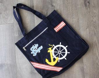 1980s Nautical Tote Ship Shape Beach Bag Navy Blue Canvas Anchor Wheel Large Womens Vintage Purse