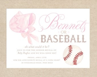 Bonnets or Baseball Gender Reveal Invitation