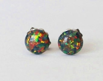6mm Black fire opal stud earrings, hypoallergenic Titanium Earrings, Black opal studs, Gemstone post studs, Sensitive ears