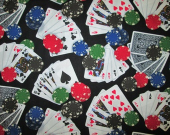 Deck Of Cards Poker Chips Las Vegas Cotton Fabric Fat Quarter or Custom Listing