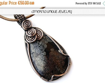 ON SALE Wire wrapped solid copper and red snowflake jasper pendant