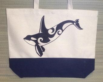 OOAK, Hand Drawn Orca, Canvas Beach Bag, Bio Degradable, Eco Friendly, Washable.