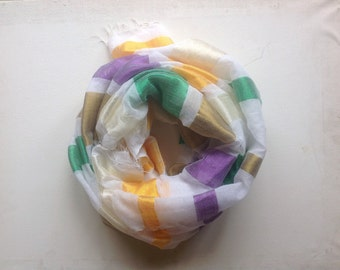 Gauze cotton scarf- green orange purple gold stripe spring summer scarf- scarves and wraps women- woven Ethiopian scarf-gifts for Women