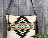 North by Northwest Crossbody Messenger Purse // Tribal Tan Turquoise Pendleton Wool Leather // Rosebud Originals