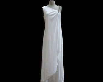 Vintage 60s white draped grecian wedding dress - 1960s asymmetrical rhinestone shoulder floor length evening / party dress - medium large