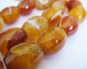 Agate Beads Gemstone Red Orange Barrel 20x15MM