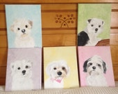 "Five Custom 8"" x 10"" Dog Portraits Created for Ana"