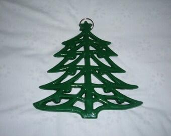 Vintage Green Metal Christmas Tree Trivet