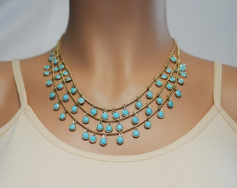 Bib Necklace, Dangling turquoise Necklace, Dangle Necklace, Layered Necklace, Gift for her, Gold and turquoise Necklace