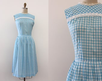 vintage 1960s dress // 60s blue gingham day dress
