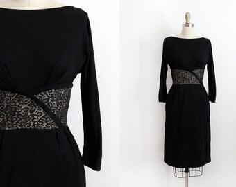 CLEARANCE vintage 1960s dress // 60s black wiggle dress