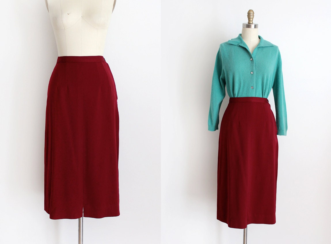 vintage 1940s wool skirt 40s burgundy pencil skirt