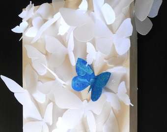 White Butterfly Box , Butterfly Wall Hanging, Butterfly Sculpture modern wall art Mixed Media by Holly Anderson Ships Free