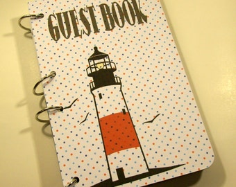 Nautical Guest Book, Lighthouse Party, Party Sign in Book, Nautical Baby Shower Guest Book, Sailor First Birthday, Nautical Baby Shower