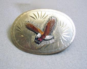 Vintage Silverplated Enameled Eagle Belt Buckle
