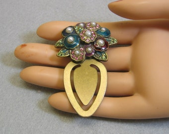 Vintage Enameled and Jeweled Flower Bouquet Bookmark