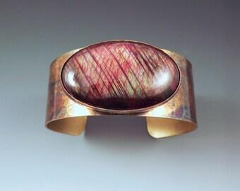 Red Labradorite- Colorful Patina- Metal Gemstone Cuff Bracelet