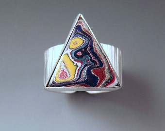 Fordite- Detroit Agate- Great Triangle Shape- Vivid Patterns- Michigan Made- Adjustable Silver Ring