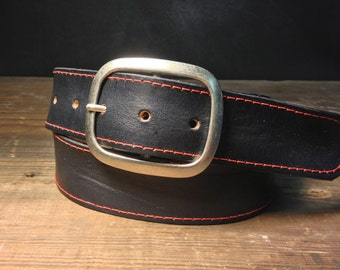 Black Leather Red Stitched Snap Belt  Handmade in USA