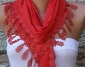 Red Cotton Scarf, Fall Fashion, Cowl Scarf, Bridesmaid Gift Bridal Accessories Gift Ideas For Her, Women Fashion Accessories Women Scarves