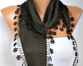 Brown Floral Scarf,Fall Scarf, Pashmina Scarf,  Cowl Scarf Bridesmaid Gift Gift Ideas For Her Women Fashion Accessories