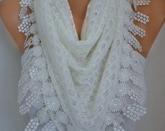Creamy White Knitted Lace Scarf Shawl, Bridal Accessories  Bridesmaid Gifts Gift Ideas For Her Women Fashion Accessories best selling item