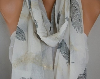 Feather Print Chiffon Infinity Scarf,Gold Plume,Fall Scarf, Circle, Loop Scarf Gift Ideas for her Women Fashion Accessories