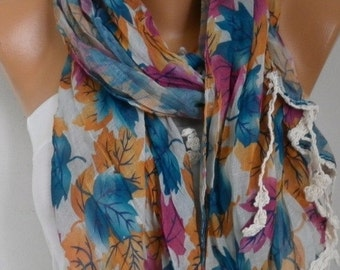 Leaf Print Scarf Valentine's Day Gift Mother's Day Gift Shawl Summer Scarf Cowl Scarf Cotton Gift Ideas For Her Women's Fashion Accessories