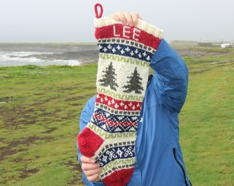 Personalized Christmas Stocking with Trees Knit Fair Isle Handknit Modern Holiday Santa Sock - Custom made to order