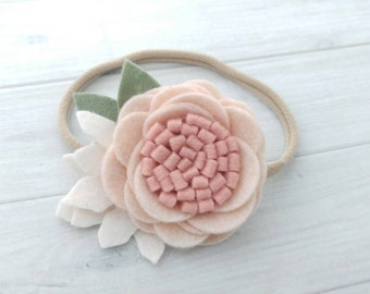 Wool Felt  Rose Headband or Hairclip- Wheat and Blush-  On Nylon Headband - Baby Headbbands - Newborn Headbands