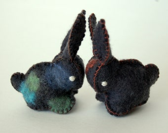 Twin Felted BABY BUNNIES-- Black set of Toys -- Hand Made in Canada -- Pure Merino Wool Handmade Felt