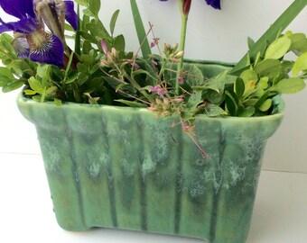 Vintage Planter/ Green Dripware Planter / Green Ceramic Container
