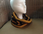Cozy Cowl in Black and Gold Acrylic -- for Yoga, Spiritwear, and Activewear