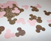 Minnie Mouse Baby Pink Gold Confetti 1st Birthday Party Baby Shower Pink and gold birthday Wedding Decorations Cards Set of 200