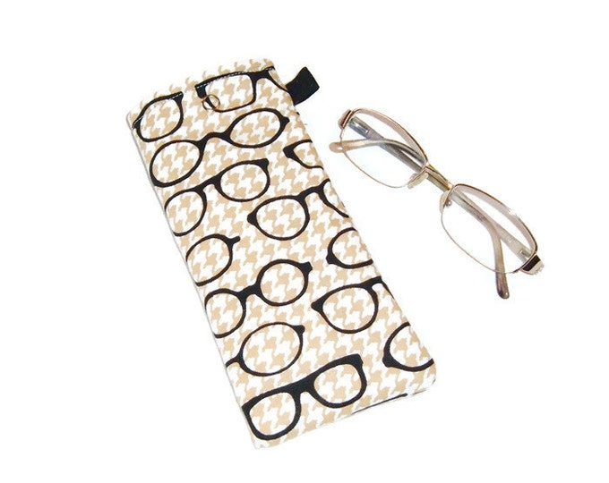 Eyeglass Case - Stocking Stuffer - Specs on Houndstooth - Gift for Grandpa-Gift for Book Lover - Gift Under 10