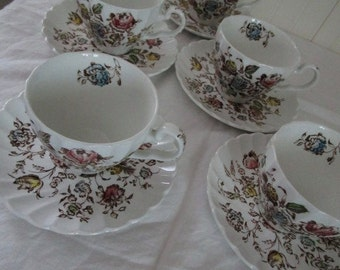 Six Saucers and Five Tea Cups Staffordshire Bouquet Transfer Ware  Johnson Brothers  England