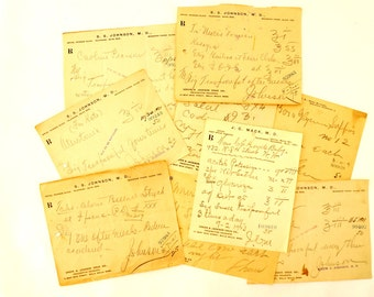 Vintage / Antique Handwritten Medical Prescriptions, Set of 9 (c.1900s) N3 - Paper Ephemera, Collectibles, Medical Oddities