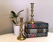 Vintage Brass Candlestick Set, Pair of Brass Candleholders, Made in England