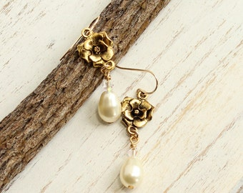 Gold Rose Earrings with Pearl Drops on Gold Filled Hooks