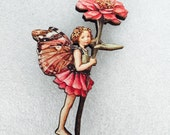 Pink Rose Butterfly Wings Flower Fairy Wooden Brooch Pin Birthday Gift Unique Present for Christmas Stocking Filler Victorian Childrens Book