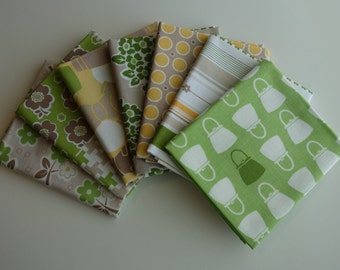 Millie's Closet by Bee in My Bonnet for Riley Blake Designs - 7 Fat Quarter Bundle of Green Colorway