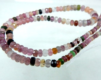 Tourmaline Beads Tourmaline Rondelle Faceted Beads Mutli Color  AAA+++ Quality 3 To 7MM 14'' Strands 100% Natural Gemstone Tourmaline Beads
