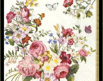 Flower paper napkins for decoupage, decoupage paper, tissue paper, lot of four 3ply 33cm