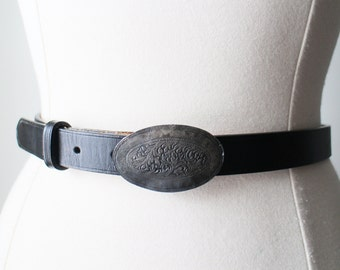 Vintage Black Leather Belt with Tooled Oval Plate Metal Buckle Country Western Boho Size 30