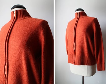 Vintage Rust Zippered Wool Sweater Cardigan Size L Womens
