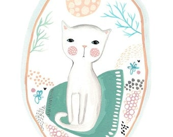 White cat print cute kitten art