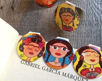 ON SALE 3 Magnetic Bookmarks (3) Frida Khalo inspired designs Free Shipping set of 3