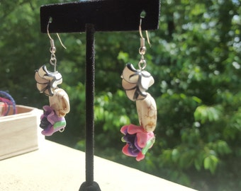 Elephant Flower Earrings - stone and polymer clay