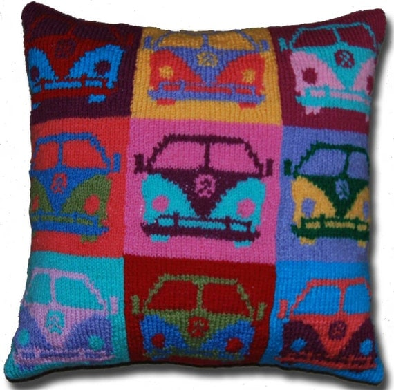 PDF Knitting Pattern for a Pop Art Campervan Cushion Cover
