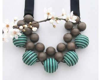 Large Bead Necklace / Wooden Necklace / Graywood Blue, Green Black Fabric Beads with Grosgrain Ribbon Ties / Bib Necklace / Gift for Her